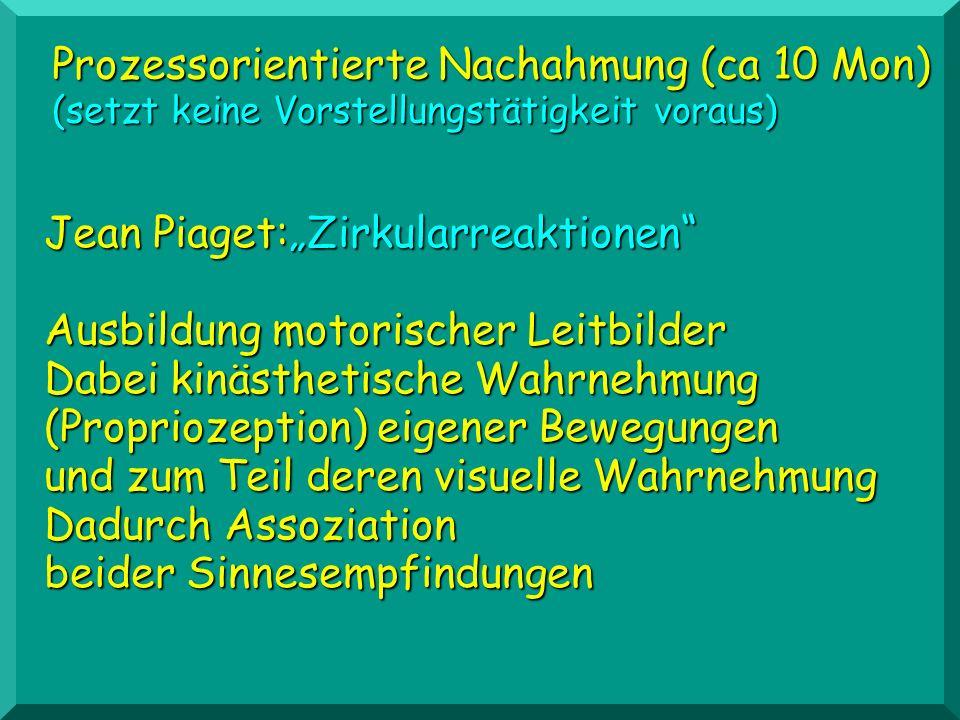 Prozessorientierte Nachahmung (ca 10 Mon) (setzt keine Vorstellungstätigkeit voraus) Jean Piaget:Zirkularreaktionen Ausbildung motorischer Leitbilder