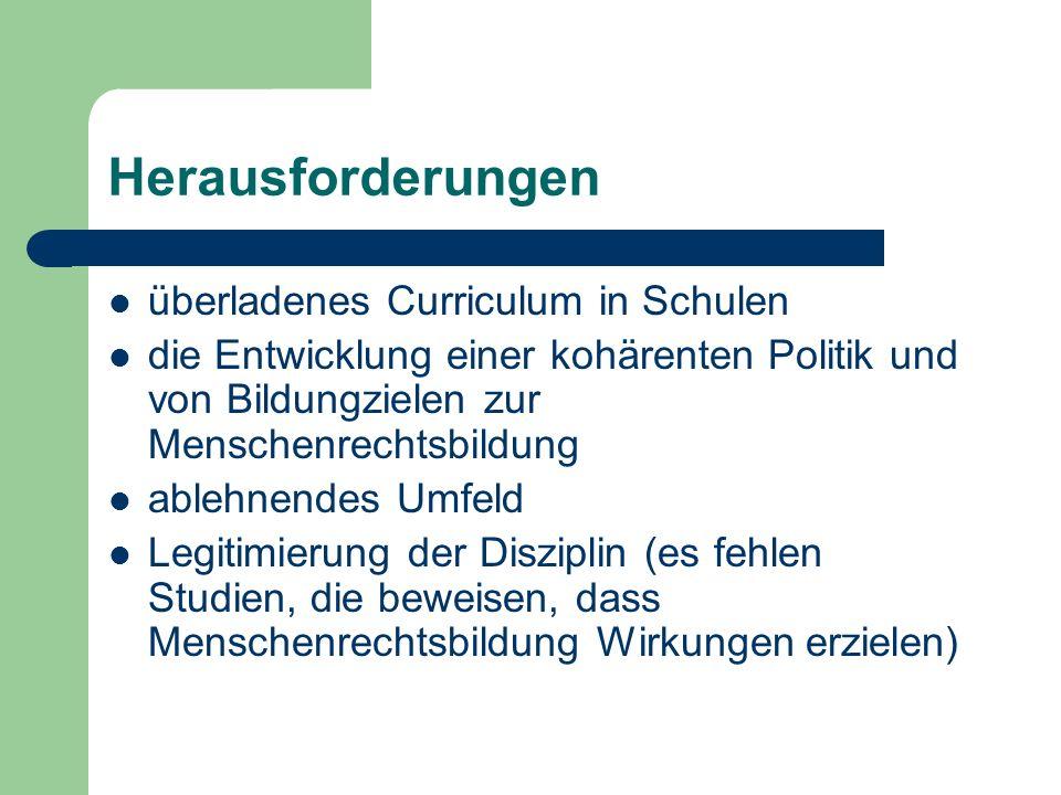 Herausforderungen überladenes Curriculum in Schulen die Entwicklung einer kohärenten Politik und von Bildungzielen zur Menschenrechtsbildung ablehnend