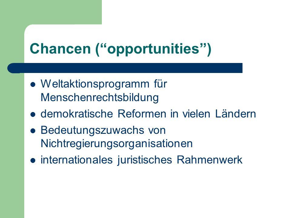 Chancen (opportunities) Weltaktionsprogramm für Menschenrechtsbildung demokratische Reformen in vielen Ländern Bedeutungszuwachs von Nichtregierungsor