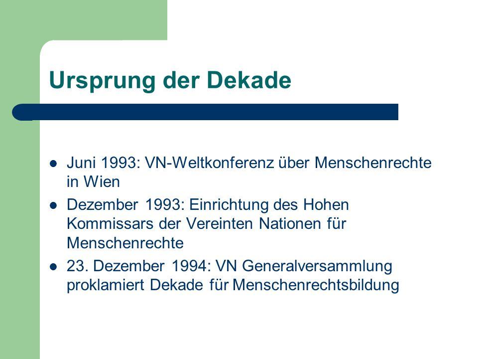 Ursprung der Dekade Juni 1993: VN-Weltkonferenz über Menschenrechte in Wien Dezember 1993: Einrichtung des Hohen Kommissars der Vereinten Nationen für