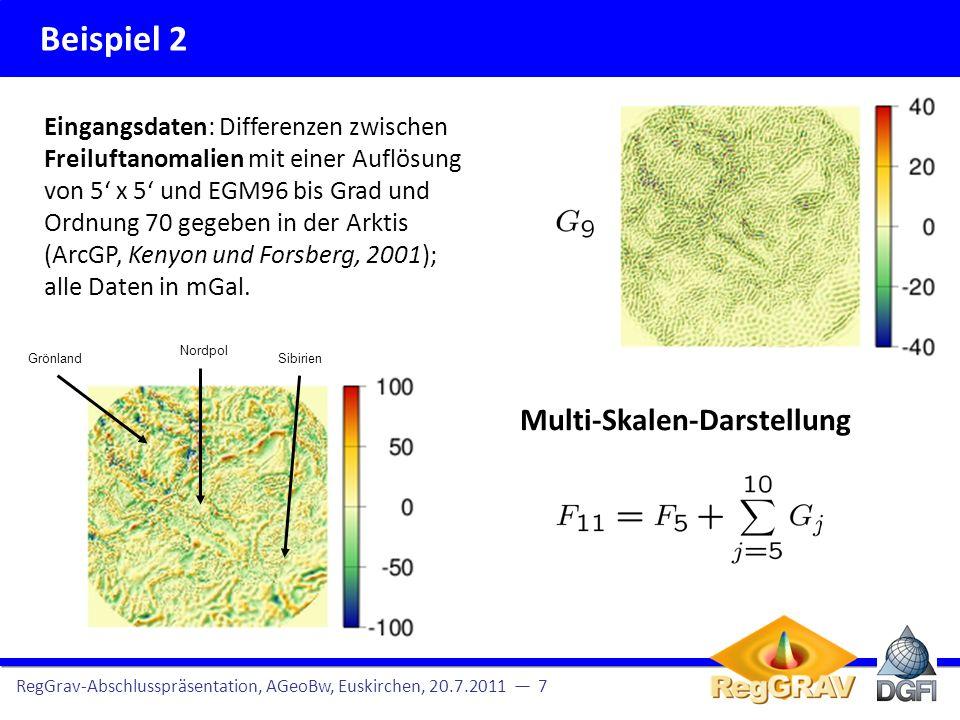 Beispiel 2 RegGrav-Abschlusspräsentation, AGeoBw, Euskirchen, 20.7.2011 7 Eingangsdaten: Differenzen zwischen Freiluftanomalien mit einer Auflösung von 5 x 5 und EGM96 bis Grad und Ordnung 70 gegeben in der Arktis (ArcGP, Kenyon und Forsberg, 2001); alle Daten in mGal.