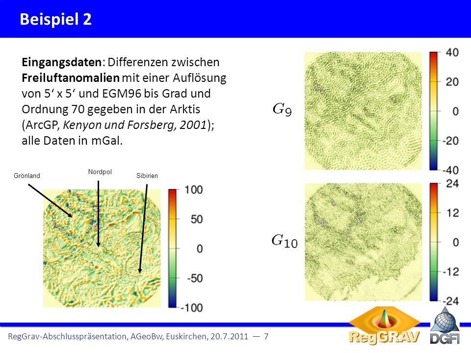 Beispiel 2 RegGrav-Abschlusspräsentation, AGeoBw, Euskirchen, 20.7.2011 7 Erkenntnisse: Die MSD erkennt Gebiete, in denen kein Signal vorhanden ist.