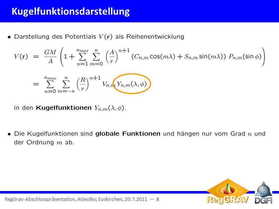 Kugelfunktionsdarstellung RegGrav-Abschlusspräsentation, AGeoBw, Euskirchen, 20.7.2011 9 Kugel(flächen)funktionen sind globale Funktionen, d.h., sie oszillieren über die gesamte Kugeloberfläche.