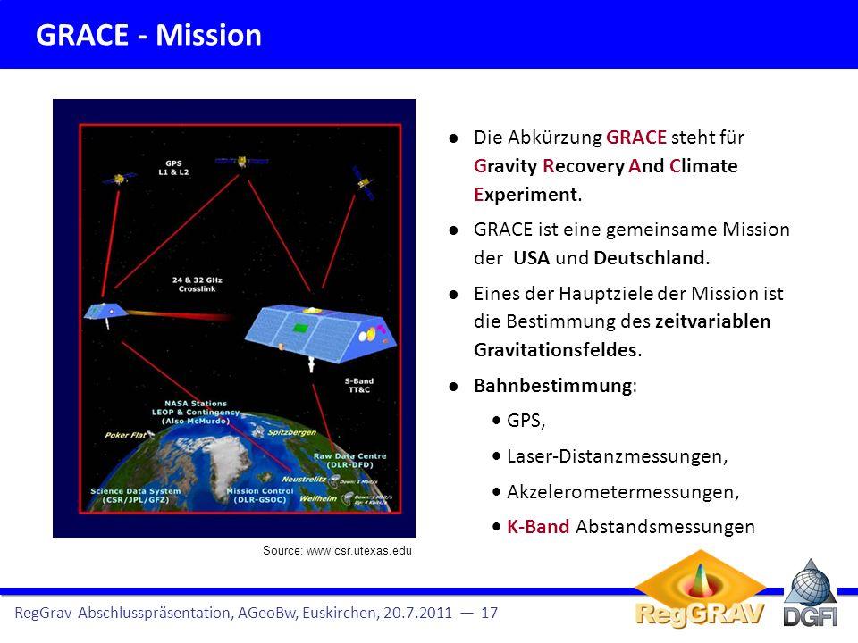GRACE - Mission RegGrav-Abschlusspräsentation, AGeoBw, Euskirchen, 20.7.2011 18 Hier: Terrestrische Schweredaten Missionsübersicht und Datendichte Altimeterprofile für AGeoBW Beobachtungsgleichungen Messprinzip: Die zwei GRACE Sa- telliten werden von den Massen unter- schiedlich angezogen.