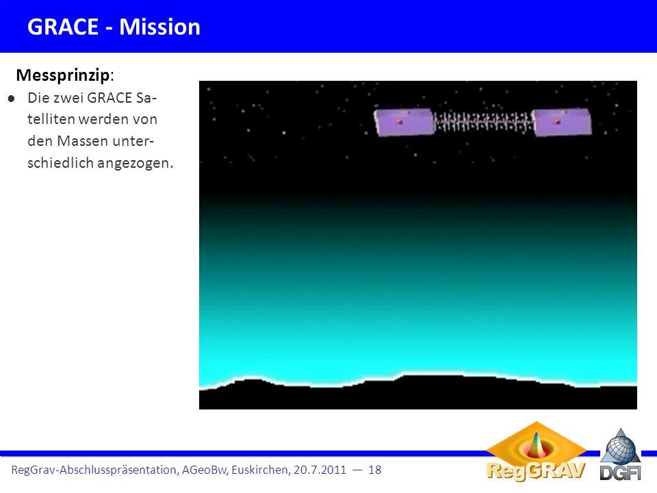 GRACE - Mission RegGrav-Abschlusspräsentation, AGeoBw, Euskirchen, 20.7.2011 2 Hier: Terrestrische Schweredaten Missionsübersicht und Datendichte Altimeterprofile für AGeoBW Beobachtungsgleichungen Somit variiert die Distanz (t) zwischen den Satelliten mit der Massenverteilung (K-Bandmessung).