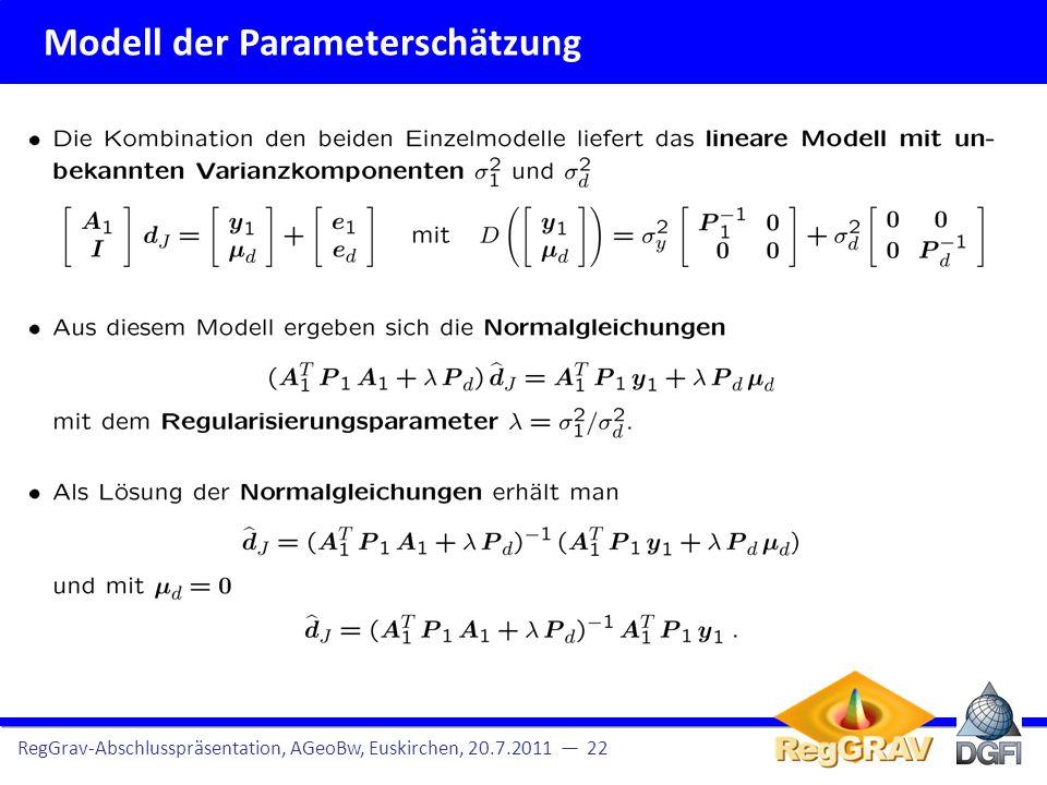 Modell der Parameterschätzung RegGrav-Abschlusspräsentation, AGeoBw, Euskirchen, 20.7.2011 23