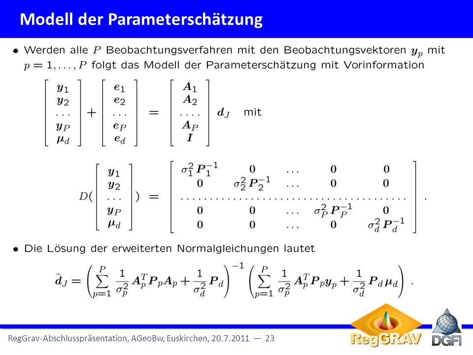 Pyramider Algorithmus Berechnung der Detailsignale mittels des pyramidalen Algorithmus Beobach- tungen RegGrav-Abschlusspräsentation, AGeoBw, Euskirchen, 20.7.2011 24