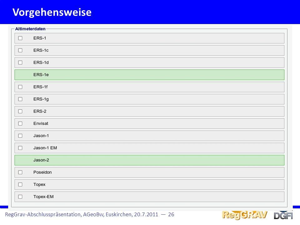Vorgehensweise RegGrav-Abschlusspräsentation, AGeoBw, Euskirchen, 20.7.2011 27