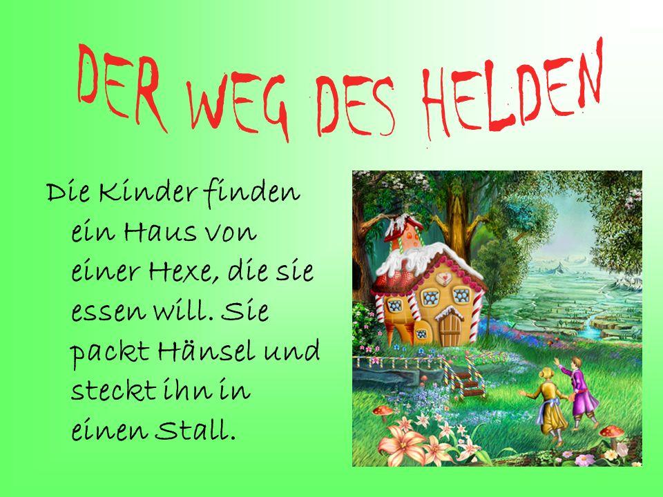 Die Kinder finden ein Haus von einer Hexe, die sie essen will. Sie packt Hänsel und steckt ihn in einen Stall.