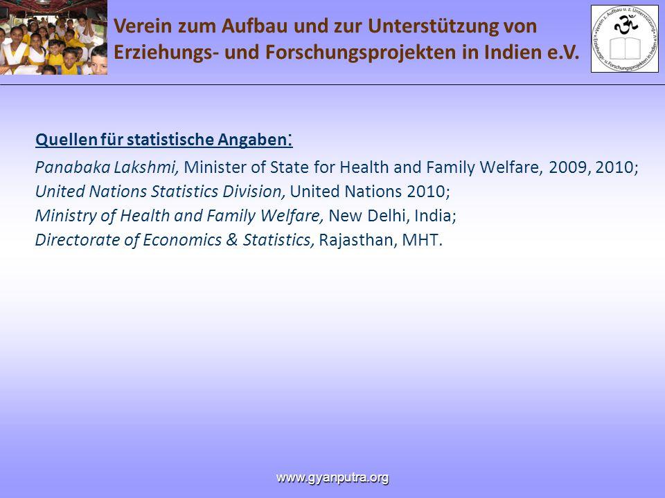 Verein zum Aufbau und zur Unterstützung von Erziehungs- und Forschungsprojekten in Indien e.V. www.gyanputra.org Quellen für statistische Angaben : Pa