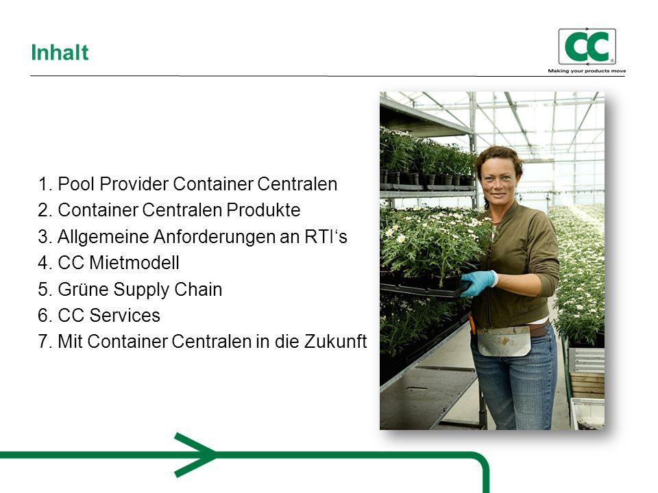 Container Centralen (CC) seit über 30 Jahren im europäischen Markt CC bietet Serviceleistungen in Verbindung mit Ladungsträger Pooling 4 Regionen in Europa und 1 Region in den USA Weitere Aktivitäten Mittelamerika und Fernost Mehr als 20.000 Kunden, 60.000 Nutzer 1.