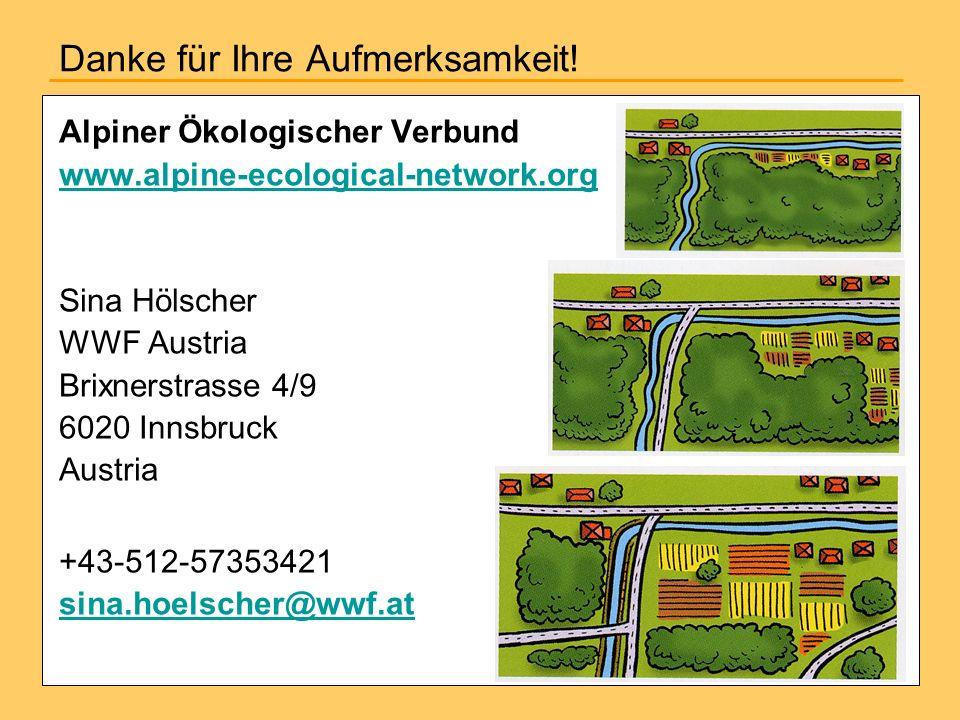 Danke für Ihre Aufmerksamkeit! Alpiner Ökologischer Verbund www.alpine-ecological-network.org Sina Hölscher WWF Austria Brixnerstrasse 4/9 6020 Innsbr