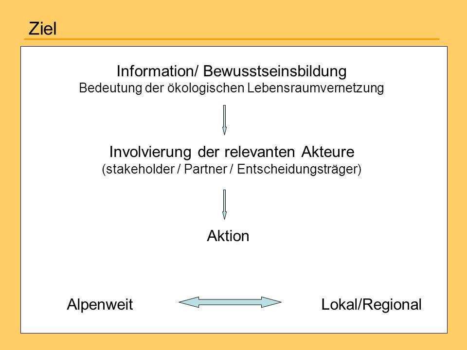 Ziel Information/ Bewusstseinsbildung Bedeutung der ökologischen Lebensraumvernetzung Involvierung der relevanten Akteure (stakeholder / Partner / Ent