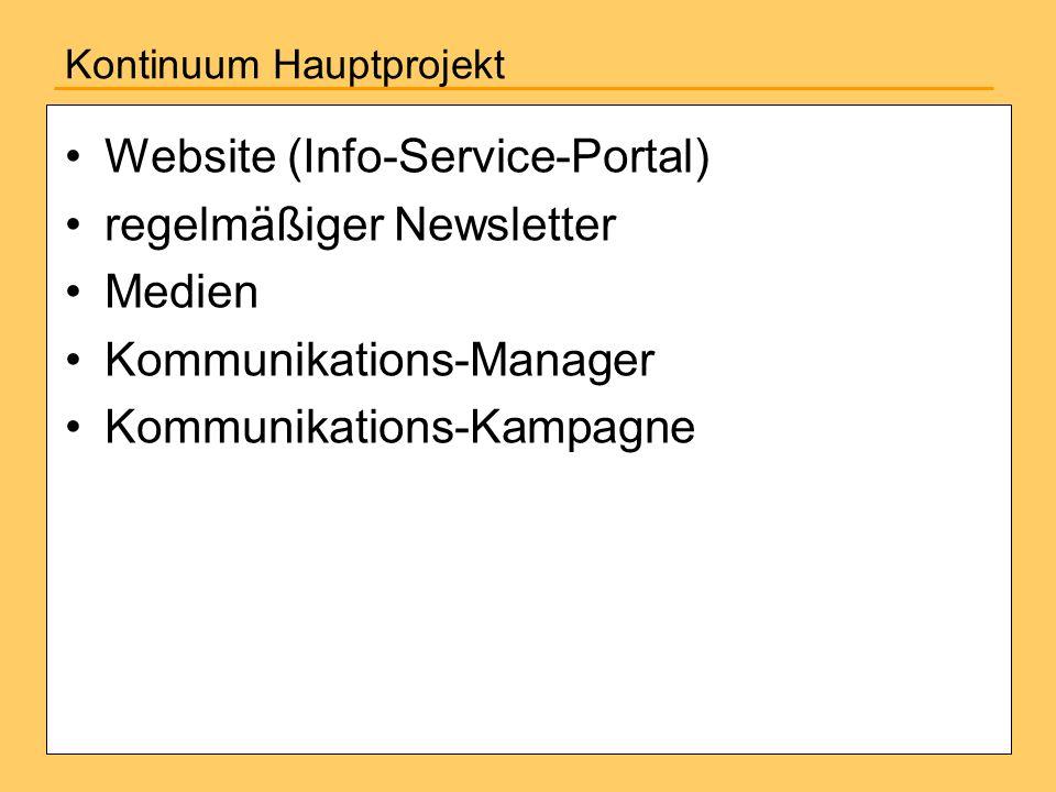 Kontinuum Hauptprojekt Website (Info-Service-Portal) regelmäßiger Newsletter Medien Kommunikations-Manager Kommunikations-Kampagne