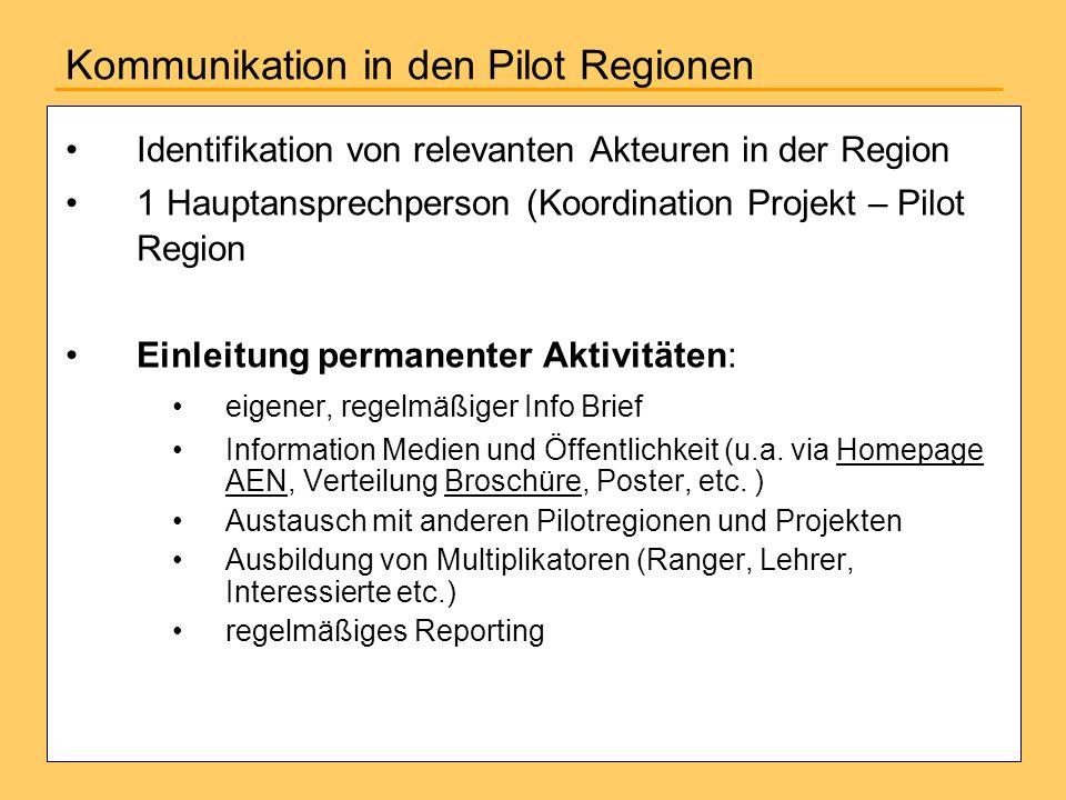 Kommunikation in den Pilot Regionen Identifikation von relevanten Akteuren in der Region 1 Hauptansprechperson (Koordination Projekt – Pilot Region Ei