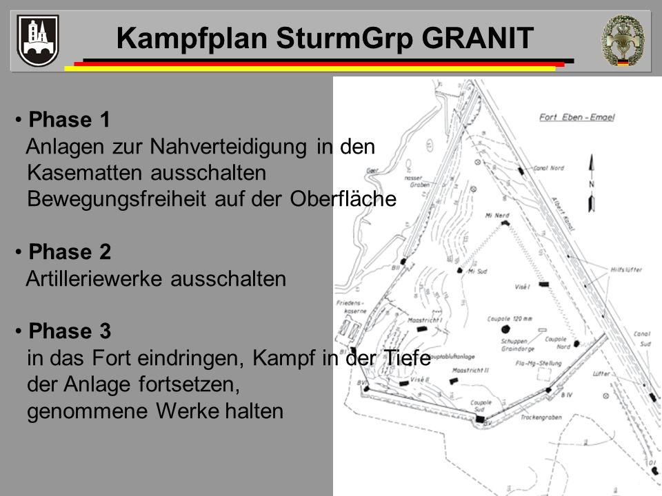 Phase 1 Anlagen zur Nahverteidigung in den Kasematten ausschalten Bewegungsfreiheit auf der Oberfläche Phase 2 Artilleriewerke ausschalten Phase 3 in