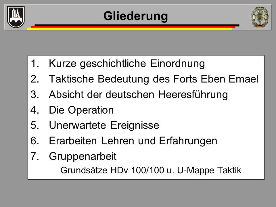 Lastensegler 4 in Stärke 0/1/1/6//8 –Uffz Bräutigam (Pilot) –Fw Wenzel (TrpFhr) –OGefr Polzin (stvTrpFhr) –5 Fallschirmpioniere –2 Hohlladungen 50 kg –5 Gewehre –1 Maschinengewehr –1 Maschinenpistole –Handgranaten, Schanzzeug, … 10.05.1940, 0245 Uhr Beladen