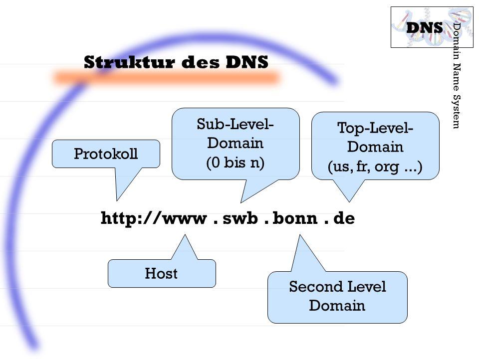 Struktur des DNS Domain Name System DNS http://www. swb. bonn. de Top-Level- Domain (us, fr, org...) Second Level Domain Host Protokoll Sub-Level- Dom