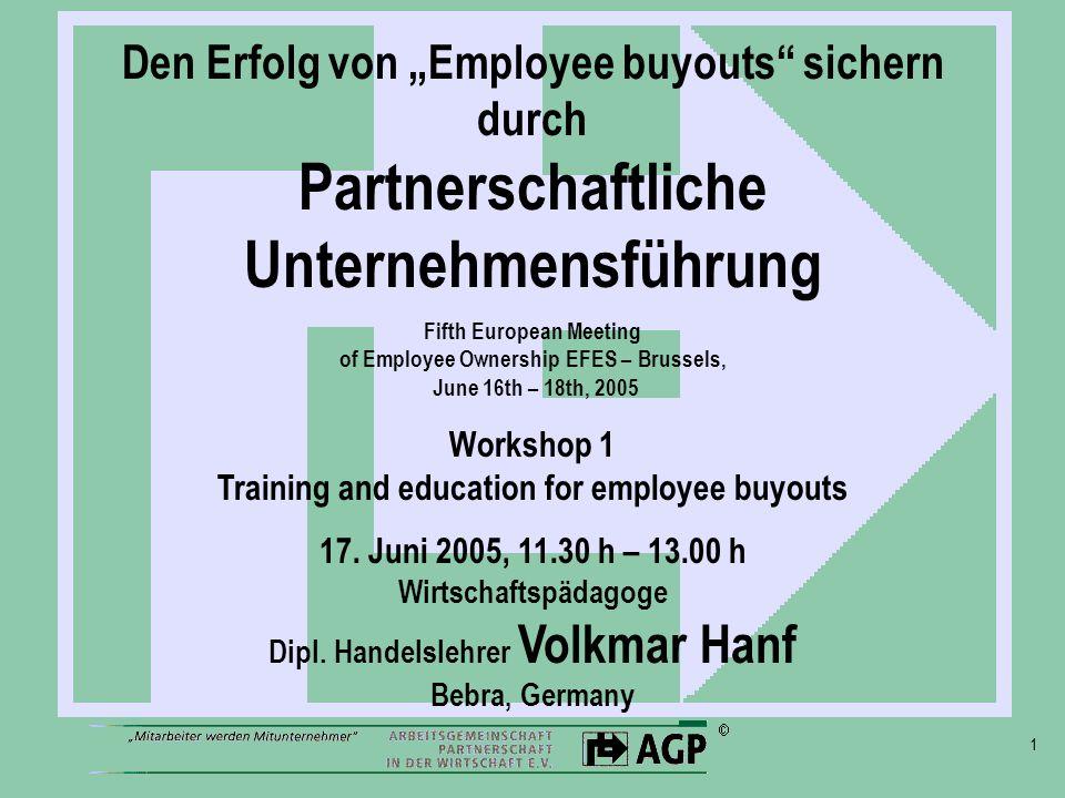 1 Den Erfolg von Employee buyouts sichern durch Partnerschaftliche Unternehmensführung Fifth European Meeting of Employee Ownership EFES – Brussels, J