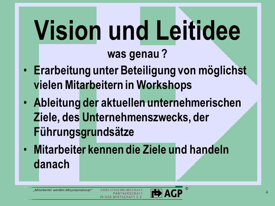4 Vision und Leitidee was genau ? Erarbeitung unter Beteiligung von möglichst vielen Mitarbeitern in Workshops Ableitung der aktuellen unternehmerisch