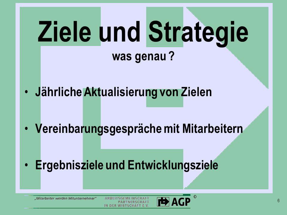 6 Ziele und Strategie was genau ? Jährliche Aktualisierung von Zielen Vereinbarungsgespräche mit Mitarbeitern Ergebnisziele und Entwicklungsziele