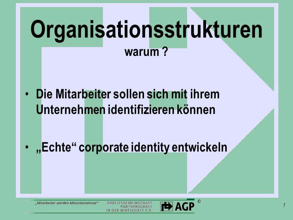 7 Organisationsstrukturen warum ? Die Mitarbeiter sollen sich mit ihrem Unternehmen identifizieren können Echte corporate identity entwickeln