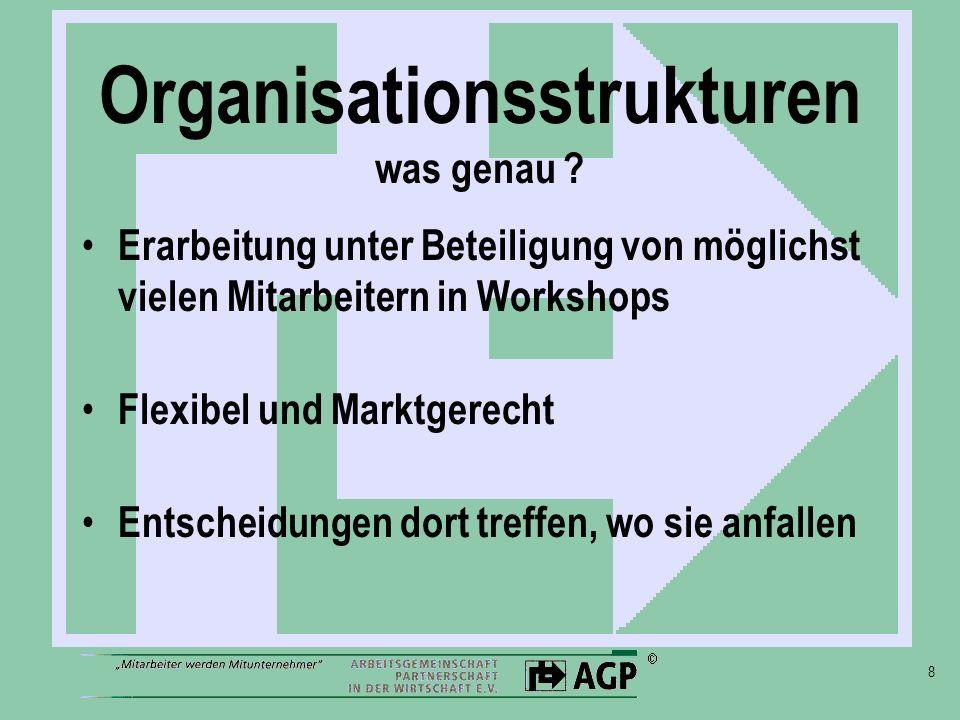 8 Organisationsstrukturen was genau ? Erarbeitung unter Beteiligung von möglichst vielen Mitarbeitern in Workshops Flexibel und Marktgerecht Entscheid