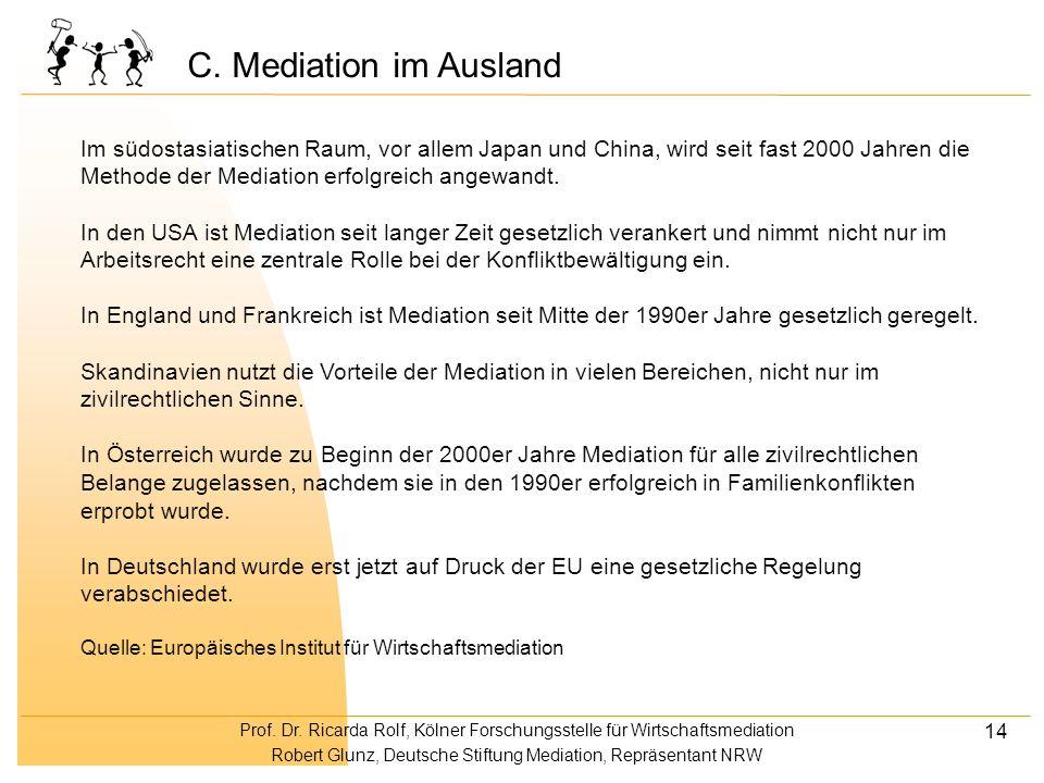 Prof. Dr. Ricarda Rolf, Kölner Forschungsstelle für Wirtschaftsmediation Robert Glunz, Deutsche Stiftung Mediation, Repräsentant NRW 14 Im südostasiat