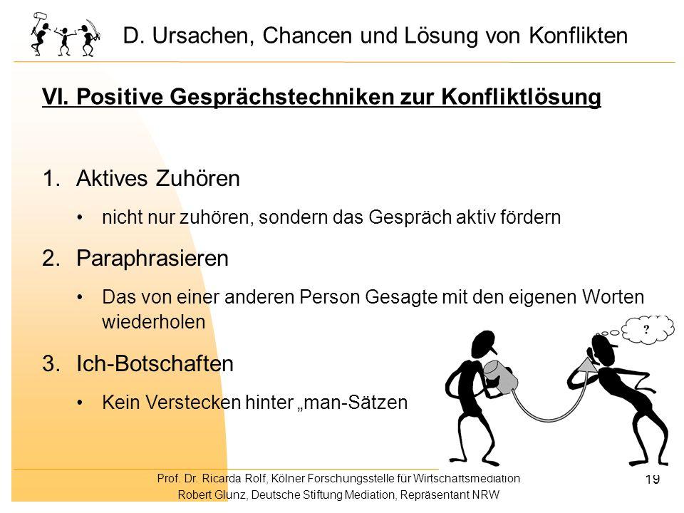Prof. Dr. Ricarda Rolf, Kölner Forschungsstelle für Wirtschaftsmediation Robert Glunz, Deutsche Stiftung Mediation, Repräsentant NRW 19 VI. Positive G