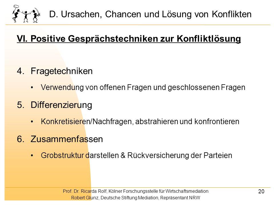 Prof. Dr. Ricarda Rolf, Kölner Forschungsstelle für Wirtschaftsmediation Robert Glunz, Deutsche Stiftung Mediation, Repräsentant NRW 20 VI. Positive G