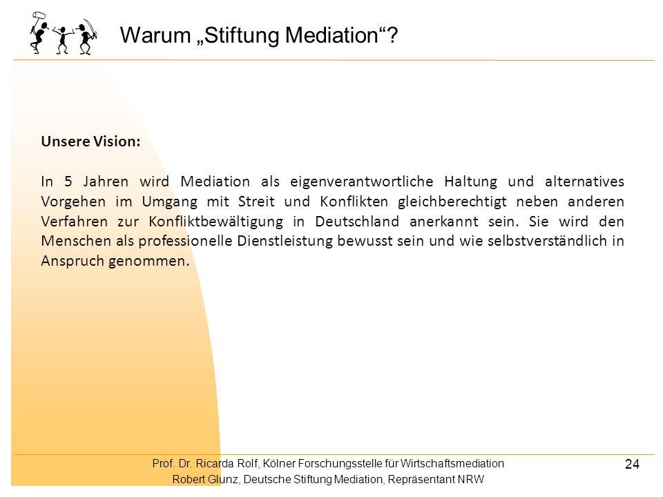 Prof. Dr. Ricarda Rolf, Kölner Forschungsstelle für Wirtschaftsmediation Robert Glunz, Deutsche Stiftung Mediation, Repräsentant NRW 24 Warum Stiftung