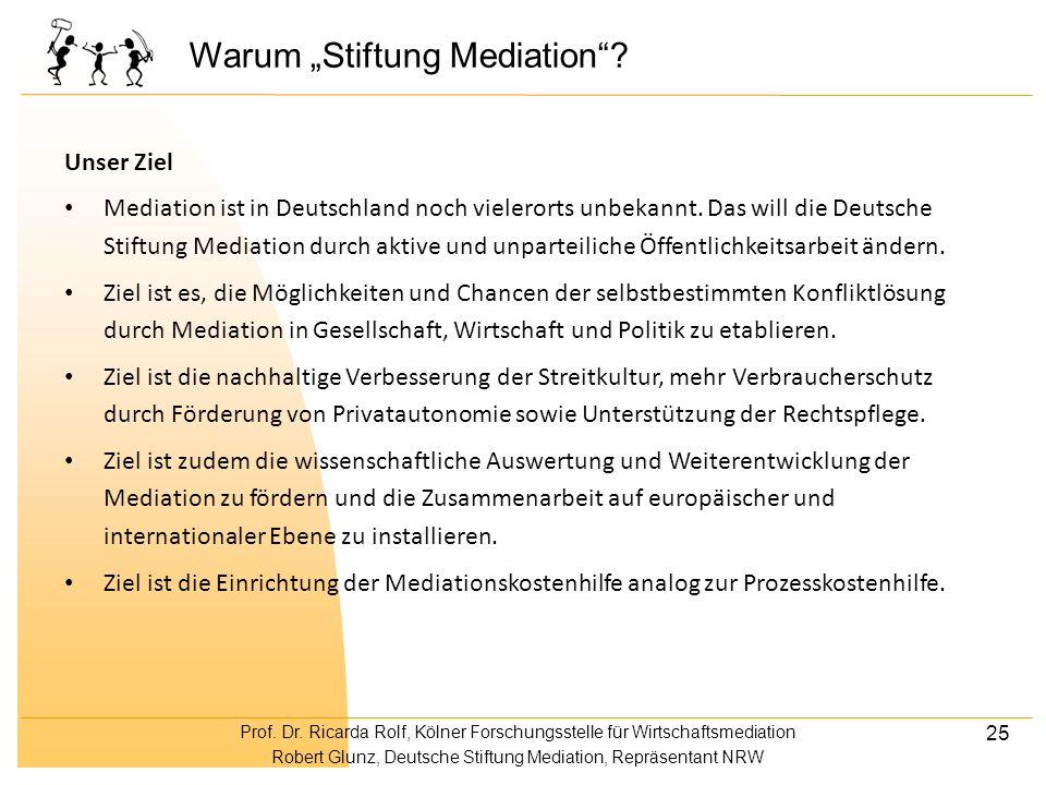 Prof. Dr. Ricarda Rolf, Kölner Forschungsstelle für Wirtschaftsmediation Robert Glunz, Deutsche Stiftung Mediation, Repräsentant NRW 25 Warum Stiftung