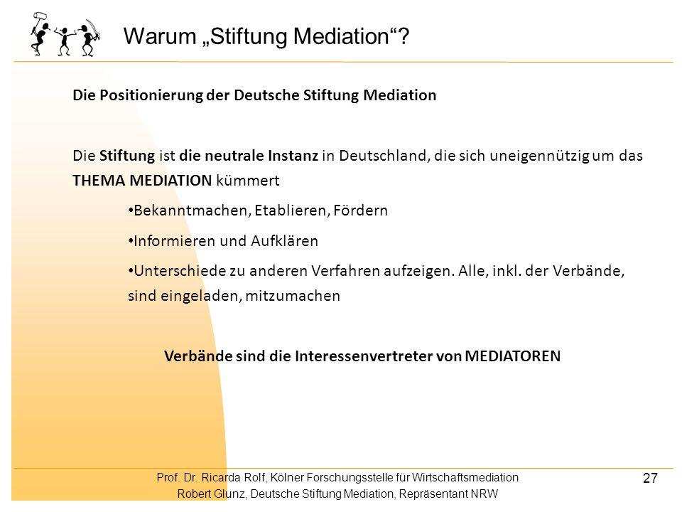 Prof. Dr. Ricarda Rolf, Kölner Forschungsstelle für Wirtschaftsmediation Robert Glunz, Deutsche Stiftung Mediation, Repräsentant NRW 27 Warum Stiftung