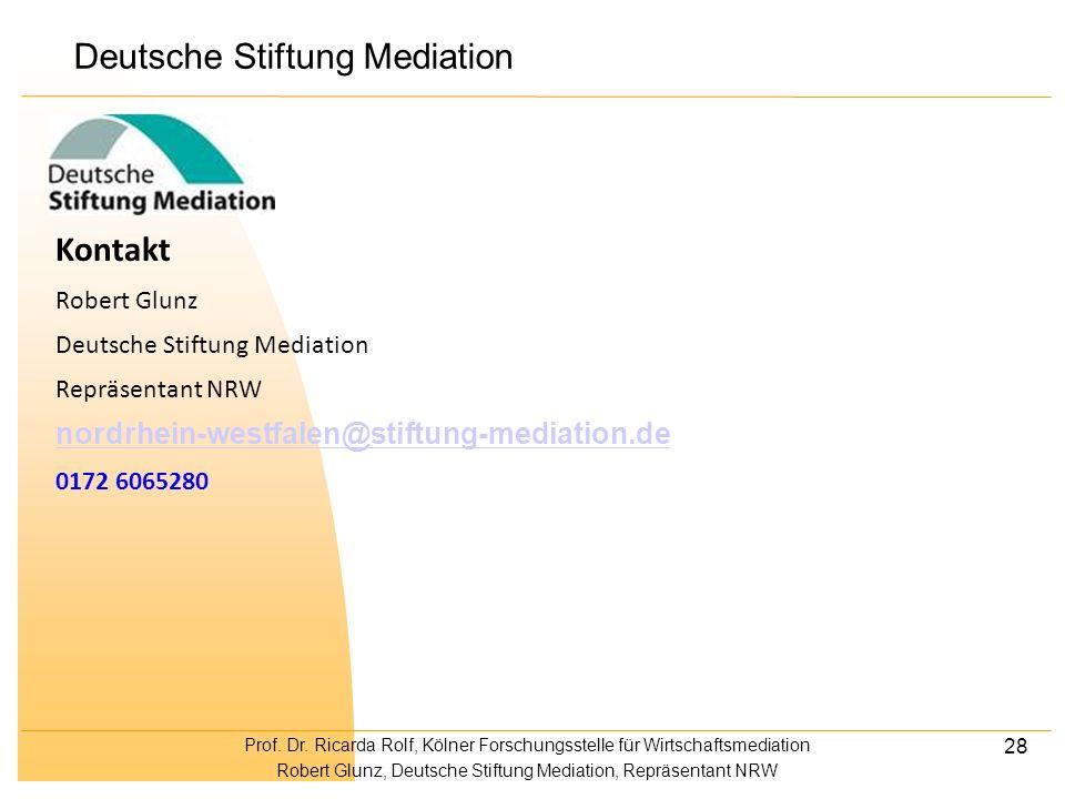 Prof. Dr. Ricarda Rolf, Kölner Forschungsstelle für Wirtschaftsmediation Robert Glunz, Deutsche Stiftung Mediation, Repräsentant NRW 28 Kontakt Robert