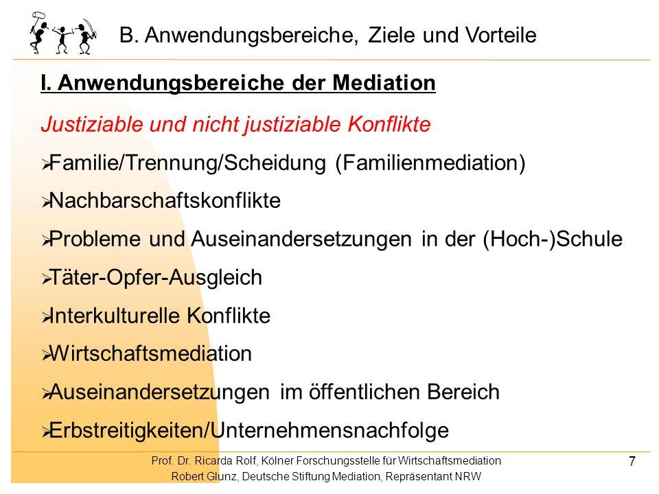 Prof. Dr. Ricarda Rolf, Kölner Forschungsstelle für Wirtschaftsmediation Robert Glunz, Deutsche Stiftung Mediation, Repräsentant NRW 7 Justiziable und