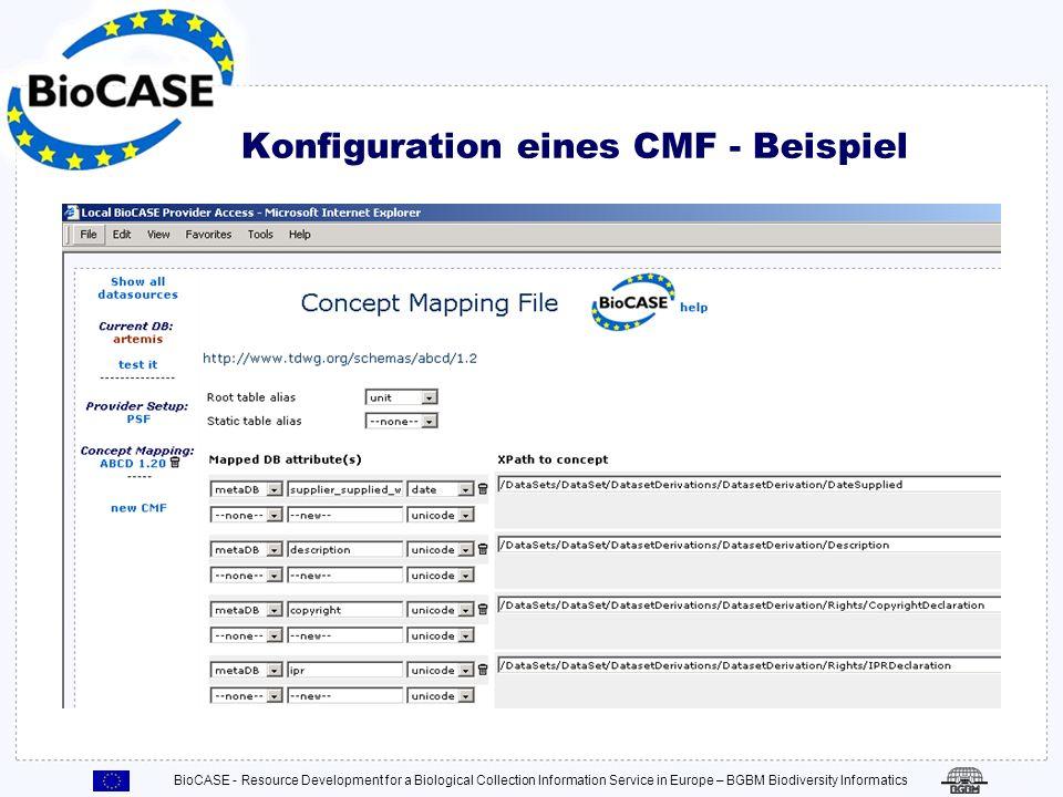 BioCASE - Resource Development for a Biological Collection Information Service in Europe – BGBM Biodiversity Informatics Konfiguration eines CMF Verkn