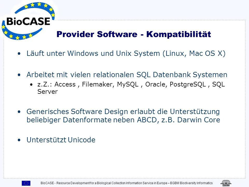 BioCASE - Resource Development for a Biological Collection Information Service in Europe – BGBM Biodiversity Informatics Häufige Konfigurations Probleme Berechtigungen nicht richtig gesetzt.