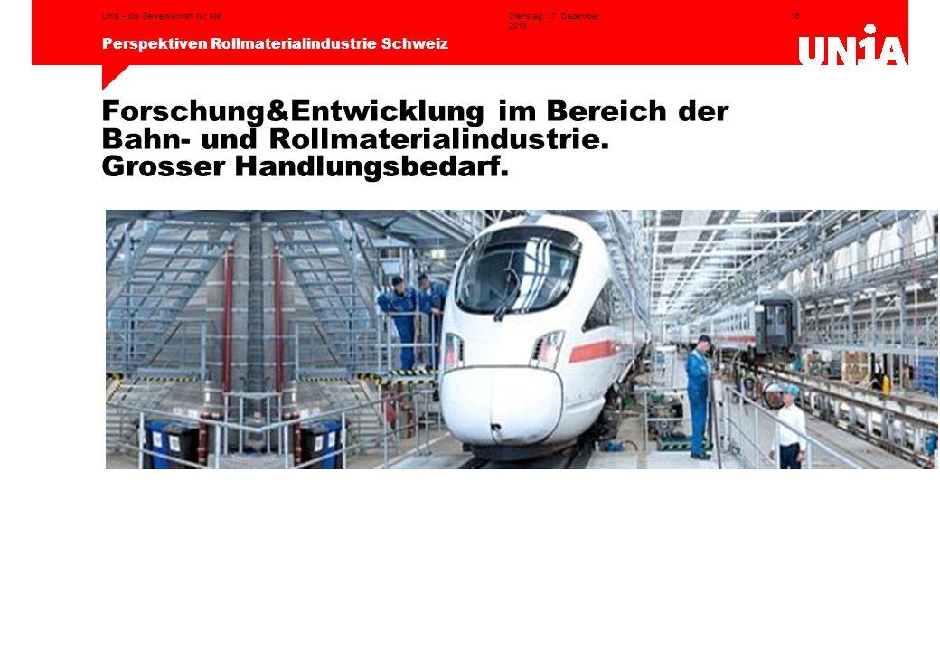 16 Perspektiven Rollmaterialindustrie Schweiz Dienstag, 17. Dezember 2013 Unia – die Gewerkschaft für alle Forschung&Entwicklung im Bereich der Bahn-