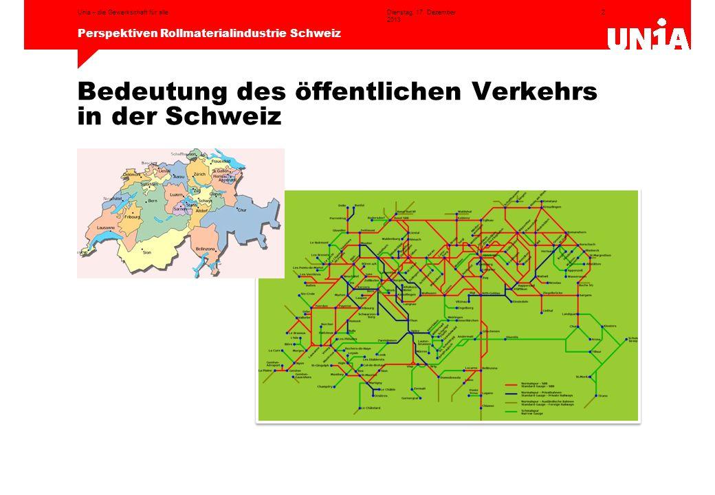 2 Perspektiven Rollmaterialindustrie Schweiz Dienstag, 17. Dezember 2013 Unia – die Gewerkschaft für alle Bedeutung des öffentlichen Verkehrs in der S