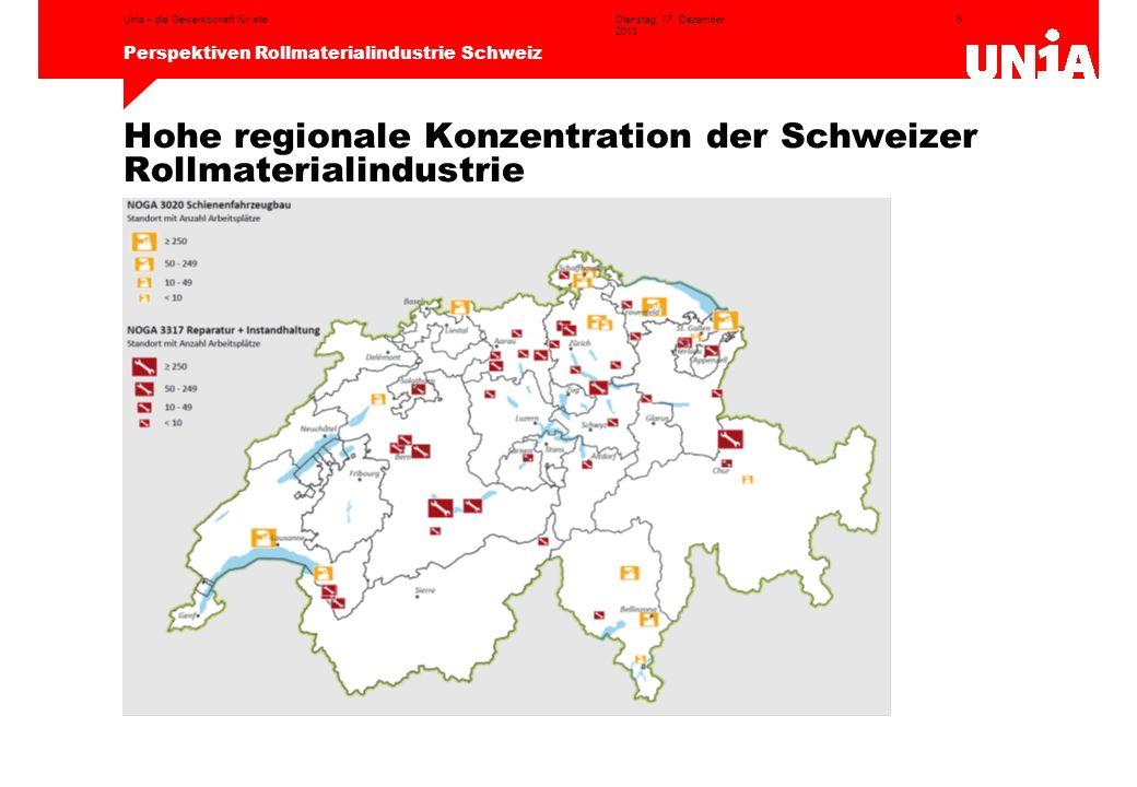 6 Perspektiven Rollmaterialindustrie Schweiz Dienstag, 17. Dezember 2013 Unia – die Gewerkschaft für alle Hohe regionale Konzentration der Schweizer R
