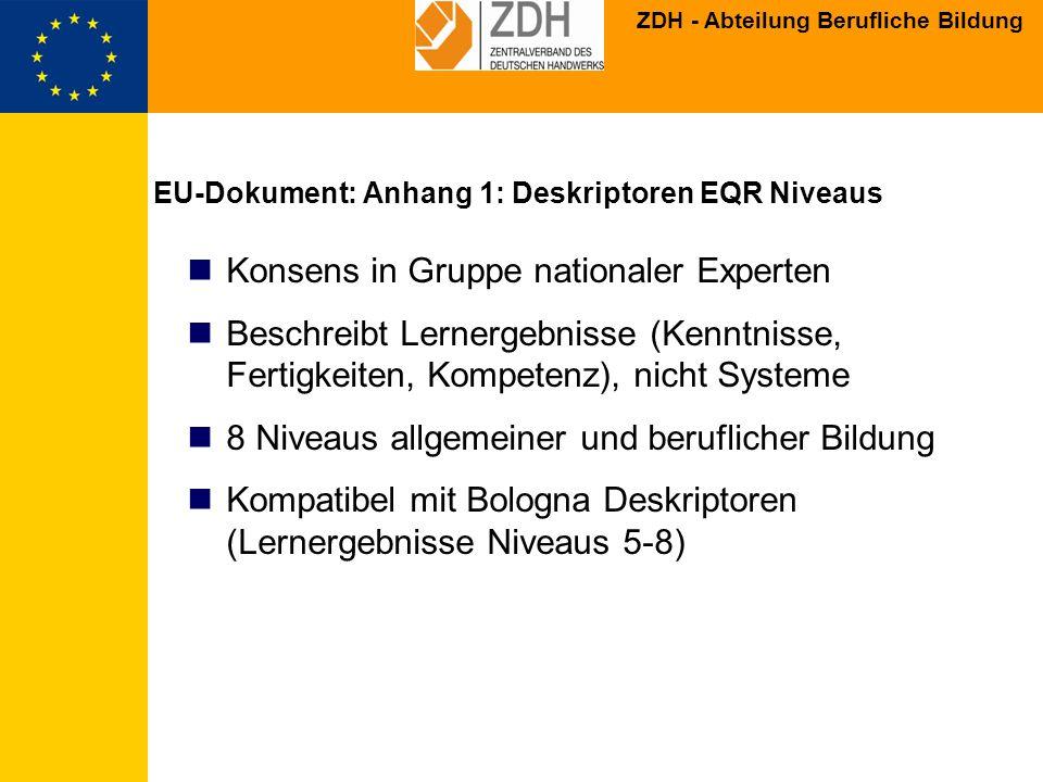 ZDH - Abteilung Berufliche Bildung EU-Dokument: Anhang 1: Deskriptoren EQR Niveaus Konsens in Gruppe nationaler Experten Beschreibt Lernergebnisse (Ke