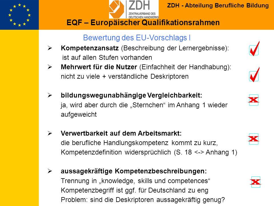 ZDH - Abteilung Berufliche Bildung Bewertung des EU-Vorschlags I Kompetenzansatz (Beschreibung der Lernergebnisse): ist auf allen Stufen vorhanden Meh