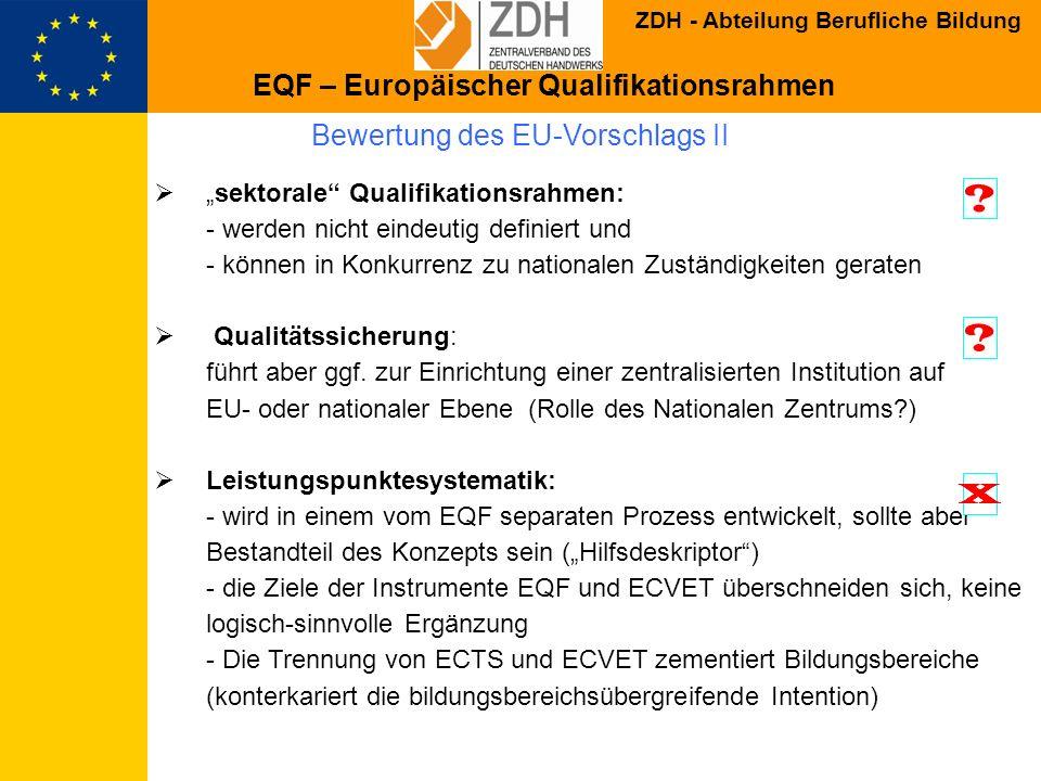 ZDH - Abteilung Berufliche Bildung Bewertung des EU-Vorschlags II sektorale Qualifikationsrahmen: - werden nicht eindeutig definiert und - können in K