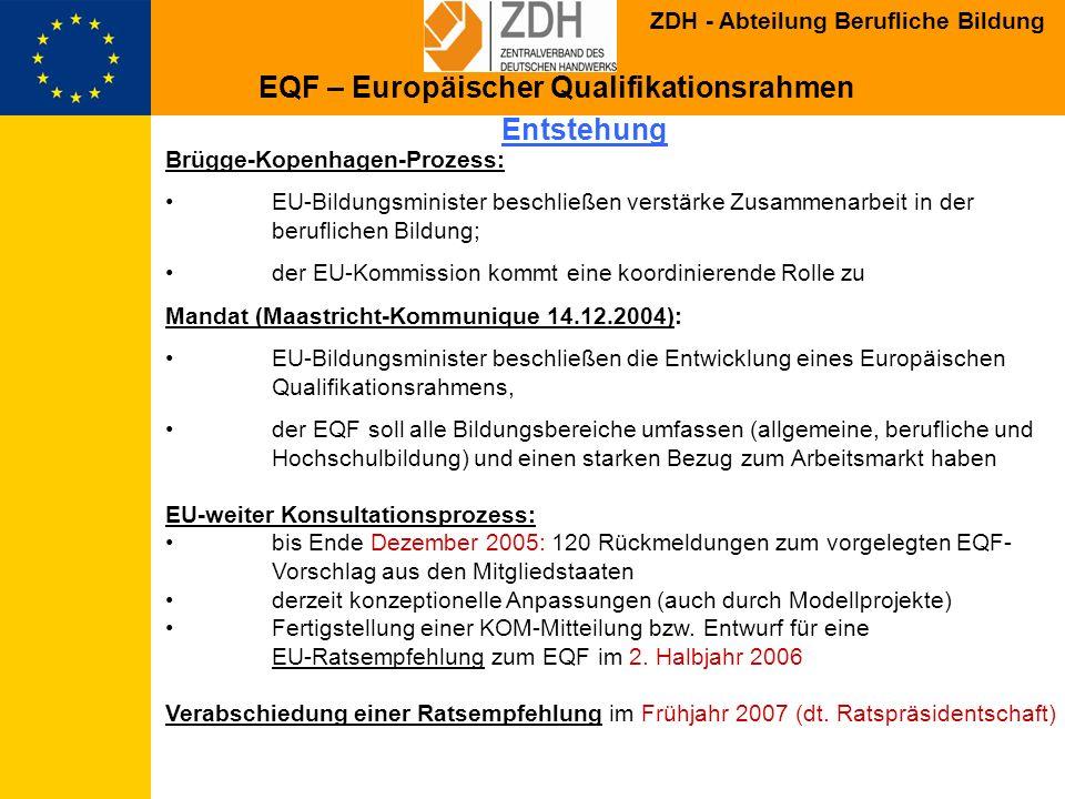 ZDH - Abteilung Berufliche Bildung EU-Dokument: Unterstützung für Absicht der Kommission: 1.Unterstützung der MS durch Kooperation, Erprobung und Begleitmaterial 2.Einrichtung einer beratenden Gruppe 3.Bericht über Durchführung 5 Jahre nach Annahme und evtl.