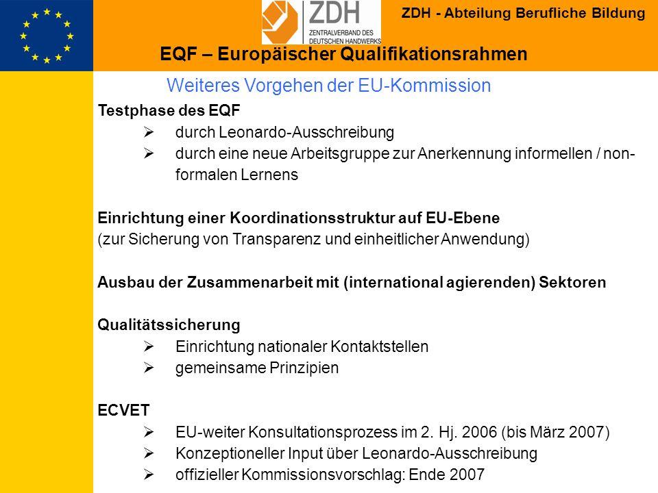 ZDH - Abteilung Berufliche Bildung Weiteres Vorgehen der EU-Kommission Testphase des EQF durch Leonardo-Ausschreibung durch eine neue Arbeitsgruppe zu