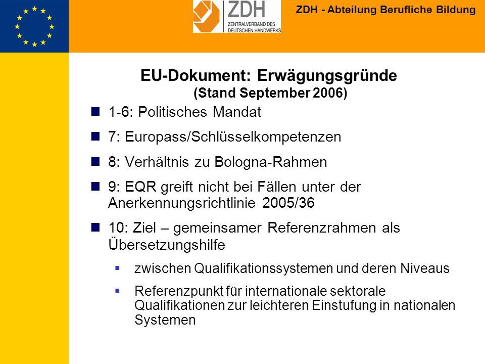 ZDH - Abteilung Berufliche Bildung EU-Dokument: Erwägungsgründe 11: Subsidiarität Freiwilligkeit (Empfehlung) Nationale Systeme werden nicht ersetzt Keine Definition individueller Qualifikationen Einstufung von Qualifikationen über das nationale System