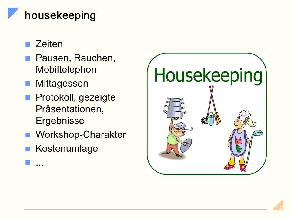 SIG Agenda Einführung – Begrüßung - housekeeping Kurzvorstellung der Teilnehmer Erwartungshaltungen - einfangen und konsolidieren Motivation für Gener