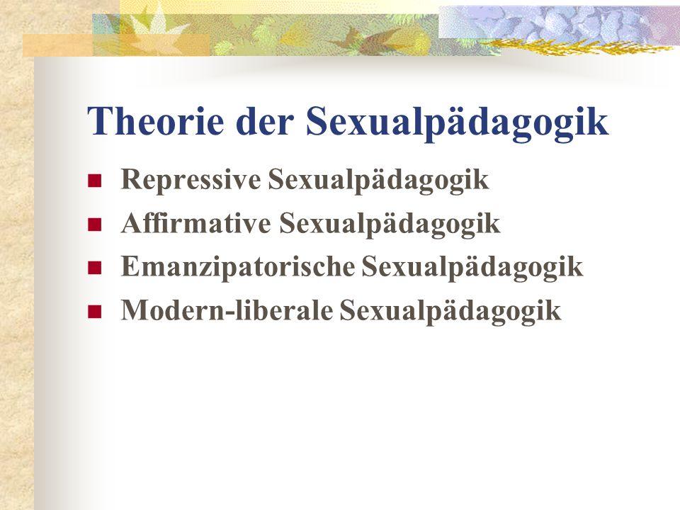 Theorie der Sexualpädagogik Repressive Sexualpädagogik Affirmative Sexualpädagogik Emanzipatorische Sexualpädagogik Modern-liberale Sexualpädagogik