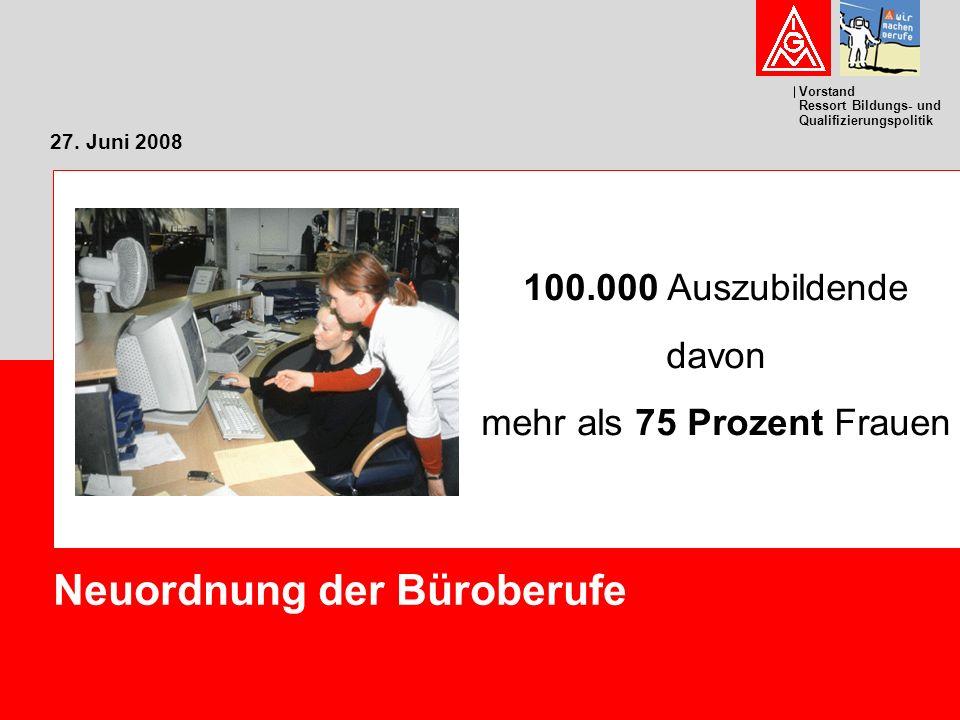 Vorstand Ressort Bildungs- und Qualifizierungspolitik 27. Juni 2008 Neuordnung der Büroberufe 100.000 Auszubildende davon mehr als 75 Prozent Frauen