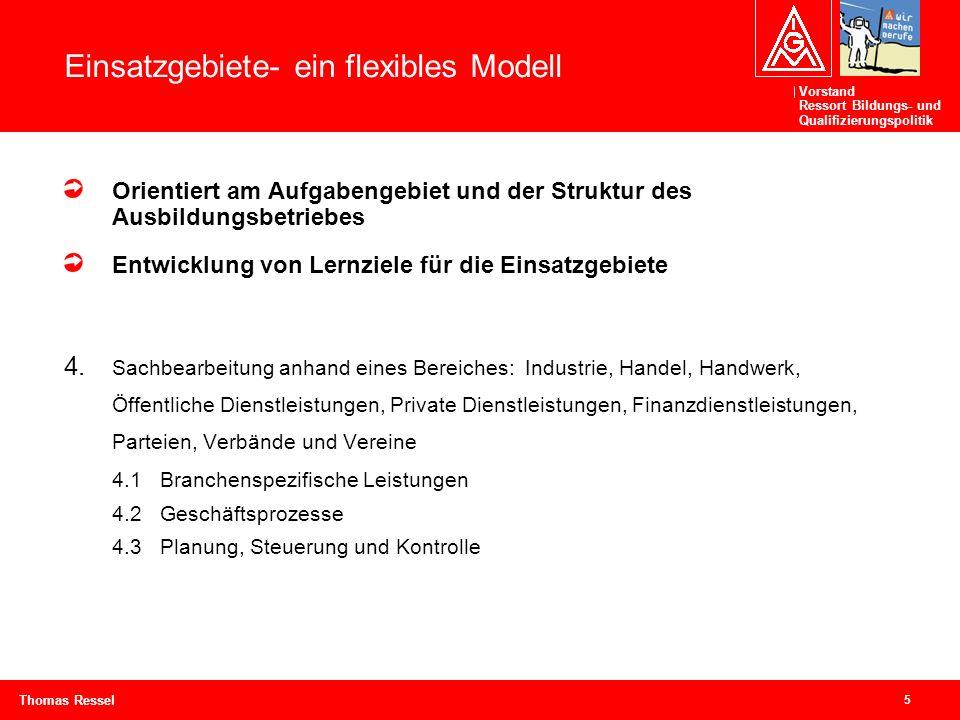 Vorstand Ressort Bildungs- und Qualifizierungspolitik 5 Thomas Ressel Einsatzgebiete- ein flexibles Modell Orientiert am Aufgabengebiet und der Strukt